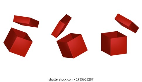 Red gift boxes for packaging. Vector illustration.