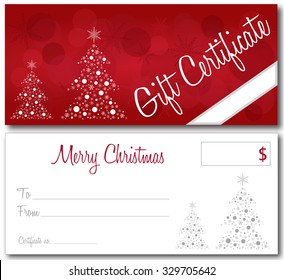 red gift certificate christmas design vector front and back font outline no drop shadow