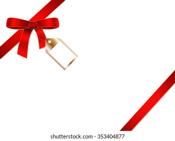 Red gift ribbon bow with golden badge