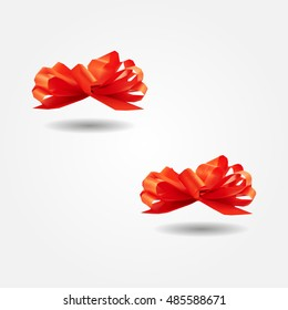 Red gift ribbon bow low and high resolution triangle mesh realistic vector eps10