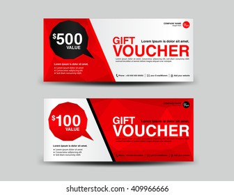 Red Gift Voucher, coupon design,ticket, banner,cards,polygon background