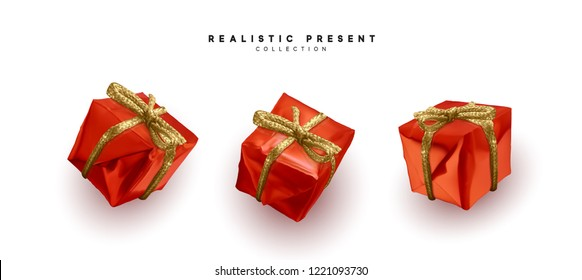 Red gifts, box realistic isolated on white background. Set of decorative presents