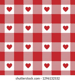 Red gingham pattern. Romantic design with red hearts. Sriped texture. Valentine's Day vichy pattern for napkin, tablecloth, or other fabric / wrapping paper / scrapbooking designs. Seamless tile.