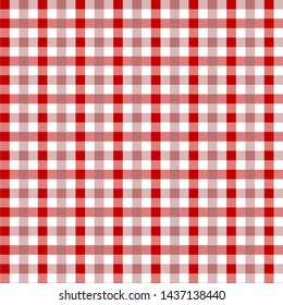 Red Gingham pattern. Texture from rhombus/squares for - plaid, tablecloths, clothes, shirts, dresses, paper, bedding, blankets, quilts and other textile products. Vector illustration EPS 10