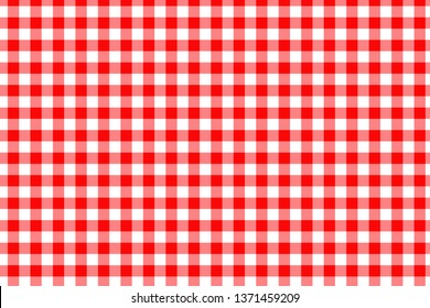 Red Gingham seamless pattern. Texture from rhombus/squares for - plaid, tablecloths, clothes, shirts, dresses, paper, bedding, blankets, quilts and other textile products. Vector illustration.