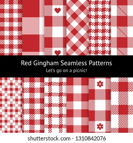 Red gingham / vichy patterns for picnic blanket or tablecloth design. Set of 12 seamless check patterns. Pixel, stripe, and herringbone texture.