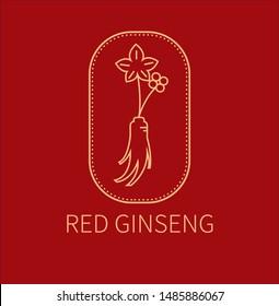 red ginseng Logo emblem label vector