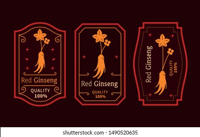 red ginseng Logo emblem label vector