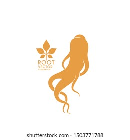 Red ginseng. Logo. Ginseng root on white background