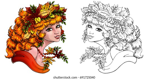 The red girl with a wreath from leaves and berries of a mountain ash colorfull and outline on white. Concept of autumn mood. Coloring page book vector illustration, isolated. Square, banner.