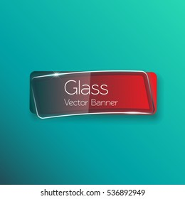Red glass button banner shine shape template for web site