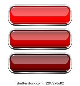 Red glass buttons. Web 3d shiny rectangle icons with chrome frame. Vector illustration isolated on white background