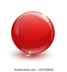 Red glassy ball on white background isolated