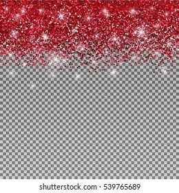 Red glitter glow sparkles background. Shiny red glitter isolated on transparent background - design for fashion, greeting cards, invitation, advertising, banners etc.