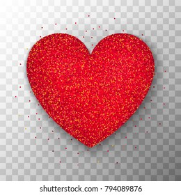 Red Glitter Heart Vector Illustration Of Realistic Love Object Over Transparent Background