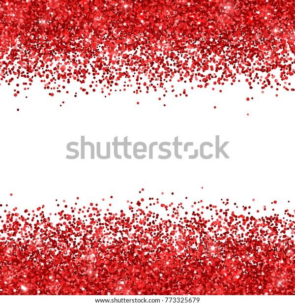 Red glitter on white background. Vector