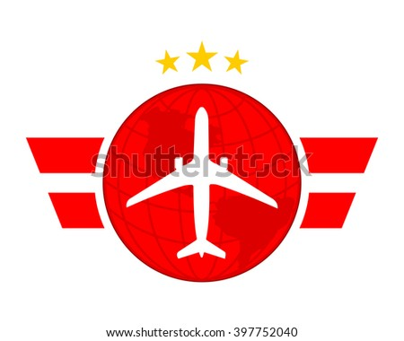 Red Globe Plane Airport Flight Airline Stock Vector Royalty Free