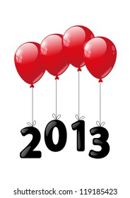 Red glossy balloon with numbers 2013 - New Year concept