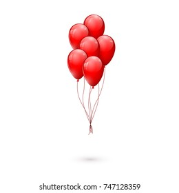 Red glossy balloons. vector illustration