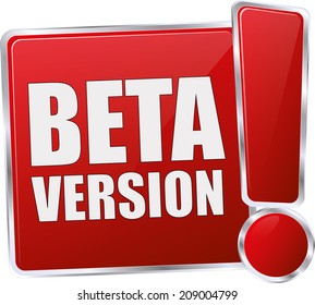 red glossy beta version button