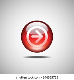 Red glossy button with flat arrow icon. Vector image for mobile apps, web and UI design