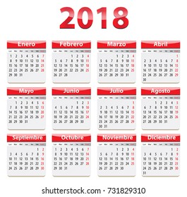 Red glossy calendar for 2018 year in Spanish language. Vector illustration