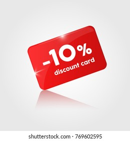 red glossy Discount card