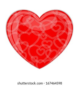 Red glossy heart with pattern