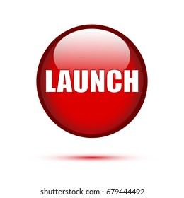 Red glossy Launch button on white background