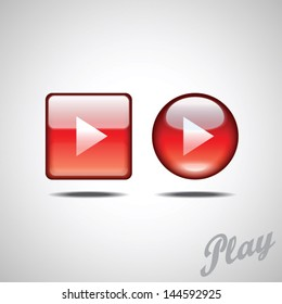 Red glossy play button vector set