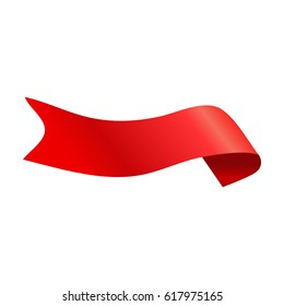 Red glossy ribbon vector banners set. Ribbons  isolated on white background.