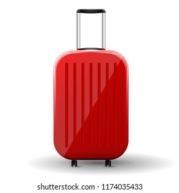Red glossy suitcase with wheels on white background. Vector Illustration.