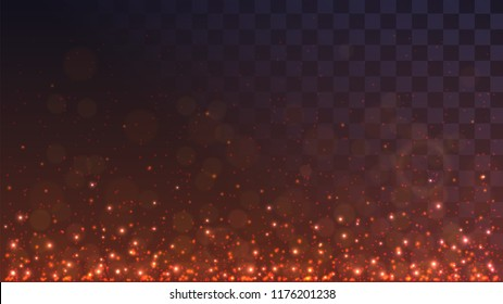 Red glowing dust from below. Sparks of flame on a transparent background, lights, embers