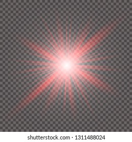 The red glowing light explodes with a blast with a transparent one. Vector illustration for perfect effect with sparkles. Bright Star. Transparent shine of the gloss gradient, bright flash. Texture