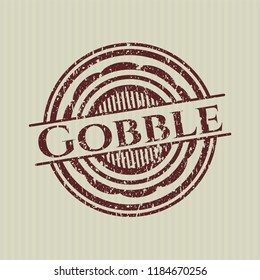Red Gobble distress rubber stamp with grunge texture