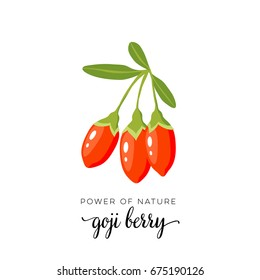 Red goji berry flat icon with inscription colorful vector illustration of eco food isolated on white.