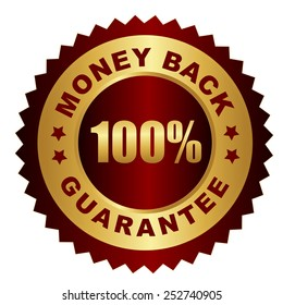 Red and gold 100% money back guarantee stamp