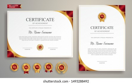 Red and gold certificate of appreciation border template with luxury badge and modern line pattern. For award, business, and education needs