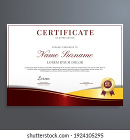 Red and gold certificate of appreciation template, modern luxury border certificate design with gold badge.
