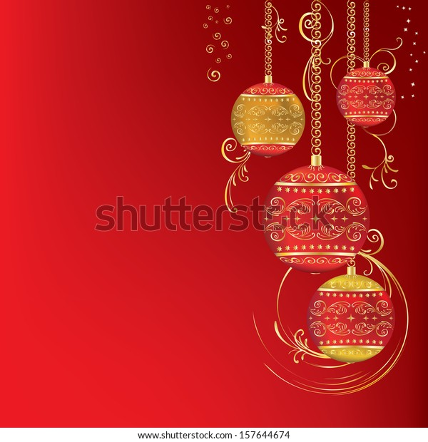 red gold christmas ornament on 600w 157644674