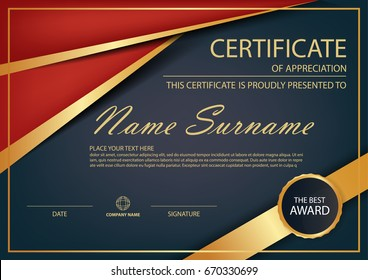 Red gold Elegance horizontal certificate with Vector illustration ,white frame certificate template with clean and modern pattern presentation