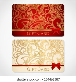 Red and gold gift card (discount card) with floral pattern and red bow (ribbons). This background design usable for gift coupon, voucher, invitation, ticket etc. Vector