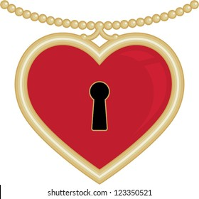 Red Gold Heart Locket | This jewelry vector has a gold chain and gold trim around a red heart locket with a key hole and is perfect for Valentine's Day.