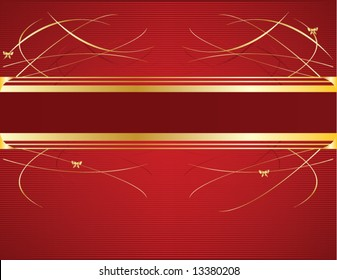Red and gold ribbon background 5