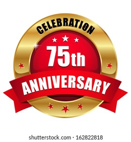 Red gold seventy-five year anniversary badge