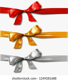 Red Gold, and Silver Satin Ribbon Bow