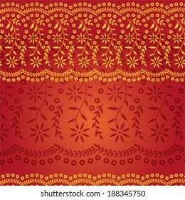 Red and Gold Traditional Indian Saree Pattern