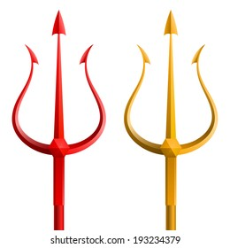 Red and gold trident on a white background