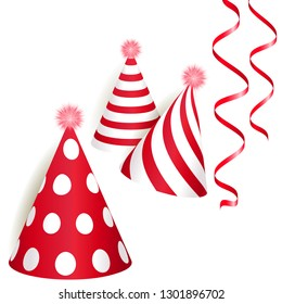 Red and golden Birthday party hats. Vector illustration EPS10