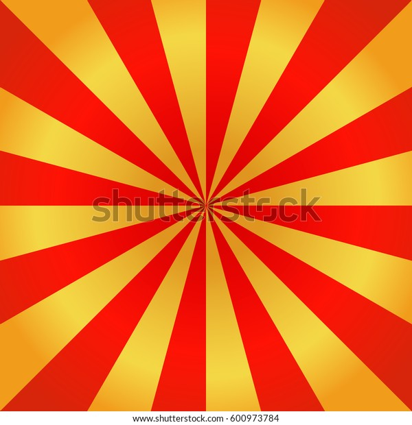 Red and golden rays of vector carnival background. Circus themed sunlight. Holiday abstract retro vector background. Template for invitations, gifts, banners